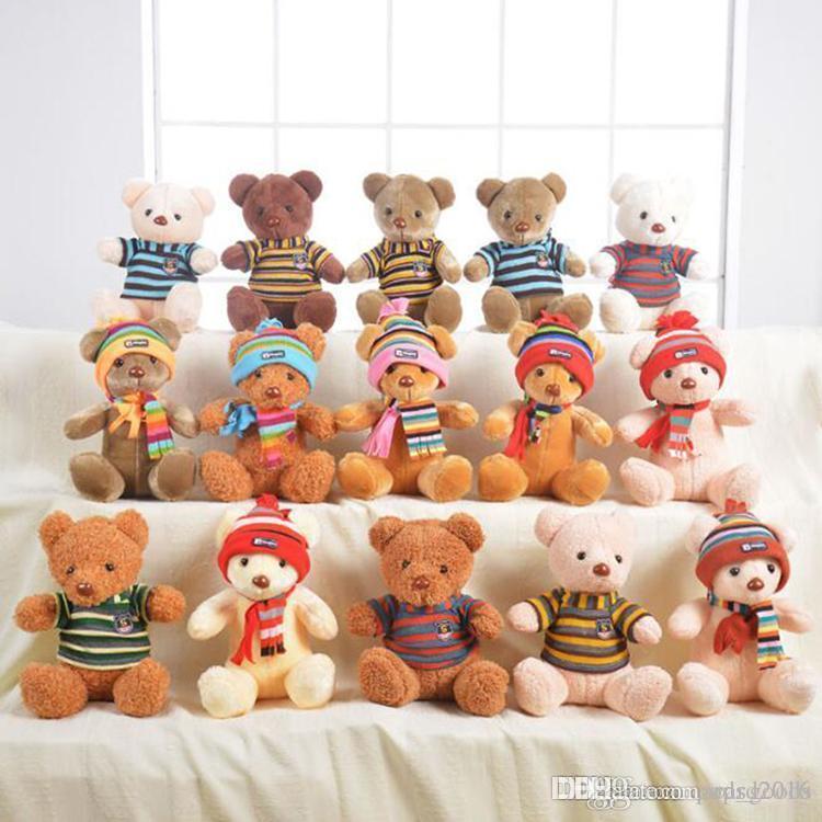 30 cm Gelen Sevimli Teddy Bear Peluş Yumuşak Oyuncak Teddy Bear Dolması Peluş Oyuncaklar Hediyeler Ile Kazak veya Caps Noel Hediyeleri Ile Hediyeler