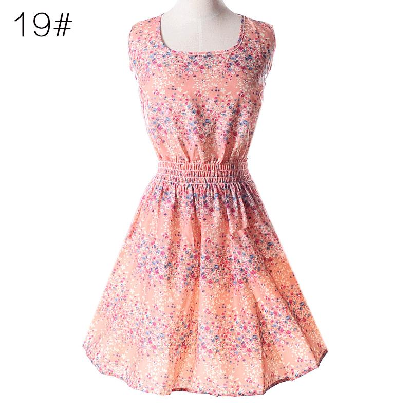 Fashionable women's dress summer new large size vest skirt printed short skirt sleeveless floral chiffon dress size S-2XL-3
