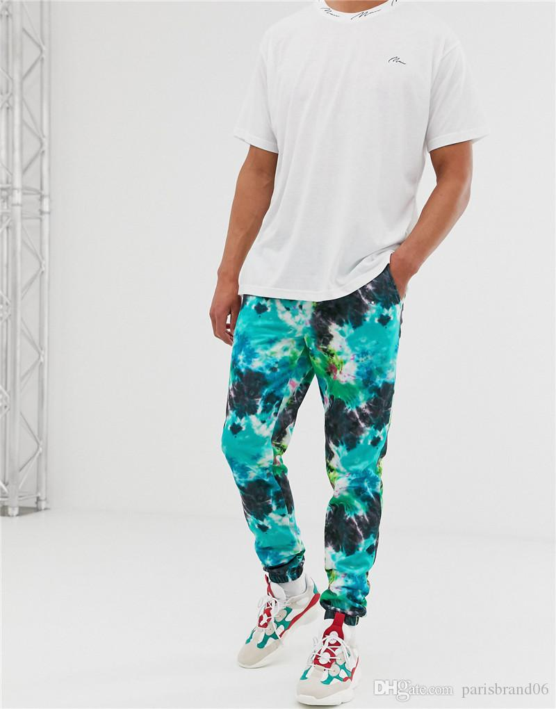 Erkek Tasarımcı Kravat Boya Pantolon Moda Erkek Gevşek Kalem Pantolon İpli ile Rahat Erkek Pantolon