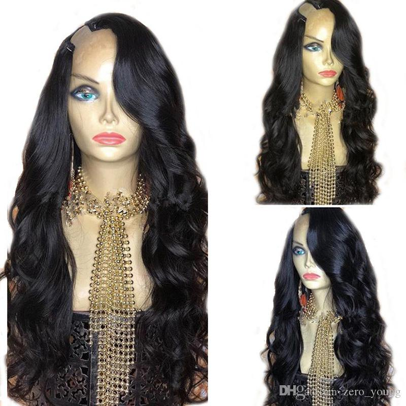 Grade Donne U parrucca dei capelli umani per il nero 9A Lordo Body Wave brasiliano upart parrucche 2 * 4 per Black Women