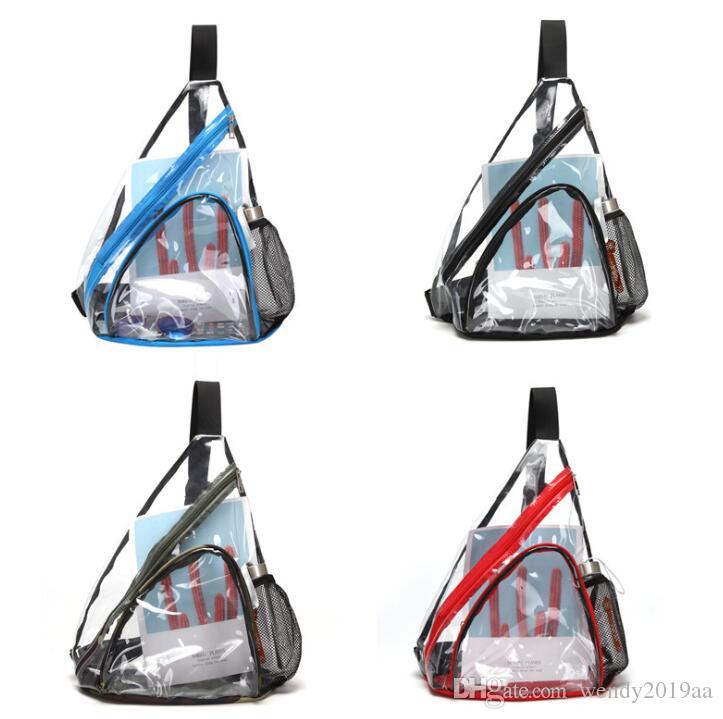 DHL Mode Femmes PVC 50pcs Casual Transparent SPort Voyage imperméable de grande capacité sacs mortuaires Zipper Croix