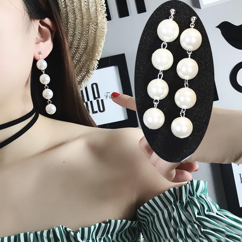 Moda lunga perla ciondola gli orecchini per le donne iperbolica finto simulato grande perla ipoallergenico nappa orecchini di goccia sposa gioielli sposa