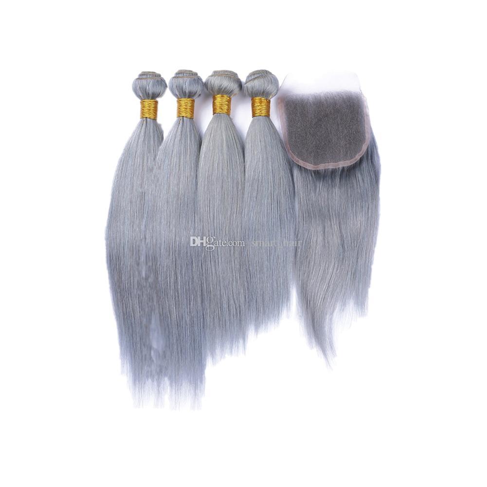 De cor cinzento retas tramas do cabelo Com 4x4 Lace Encerramento Pure Color Hetero 4x4 Weaves extensões de cabelo com fecho Pieces