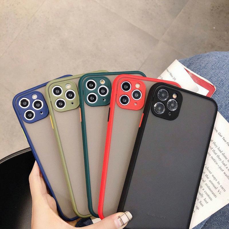 Téléphone cas pour l'iPhone 11 Pro Max XS Max 8 Plus Contraste Luxe Couleur Cadre mat dur PC de protection pour iPhone 11 cas