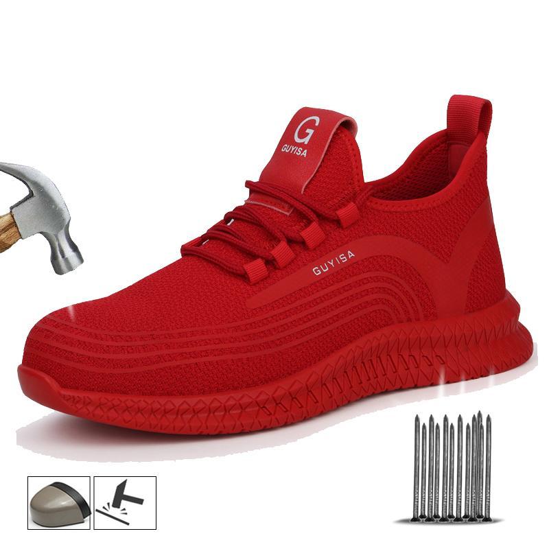 Yadibeiba Segurança do Trabalho sapatos respirável Anti-quebrando Toe Aço sapatos Trabalho Botas Indestructible Homens Botas respirável Segurança