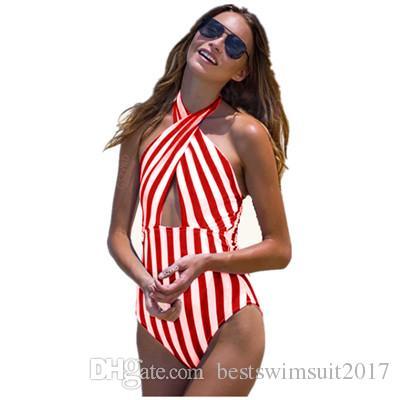 2019 Sexy Cross Criss Swimwear for Women Striped Monokini Jumpsuits Bodysuits One Piece Swimsuit Lady Summer Beach Swim Wear Bathing Suits
