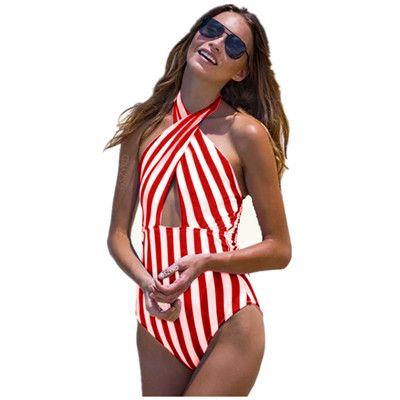 2019 Trajes de baño Sexy Cross Criss para mujer Monos Monokini de rayas Monos Traje de baño de una pieza Dama de playa de verano Traje de baño Trajes de baño