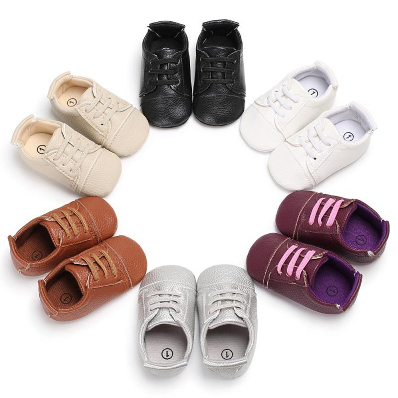 Meninos Grls 0-18M respirável Primeira Walker Shoes sólida Anti-Slip Shoes Sneakers macia Soled Primeira walkers Crib sapatos # 05