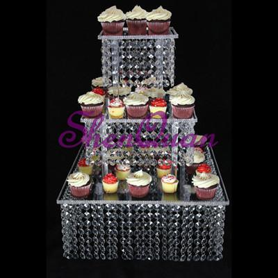 Romantic 3 tier glass crystal cake stand square acrylic crystal chandelier cupcake stand wedding party anniversary party display tools