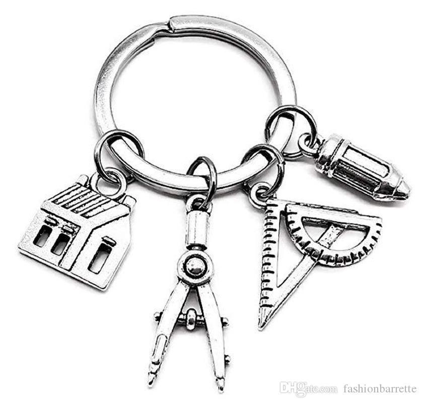 Architetto uomo catena chiave Caratteristiche Donne Holder Coppie portachiavi Anello Gioielli lega d'argento di colore Casa Bussole Pen Porte Clef