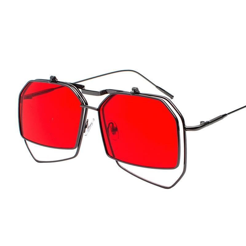 선글라스 남성 steppunk 플립 빈티지 빈티지 금속 프레임 금속 태양 안경 2019 uv400