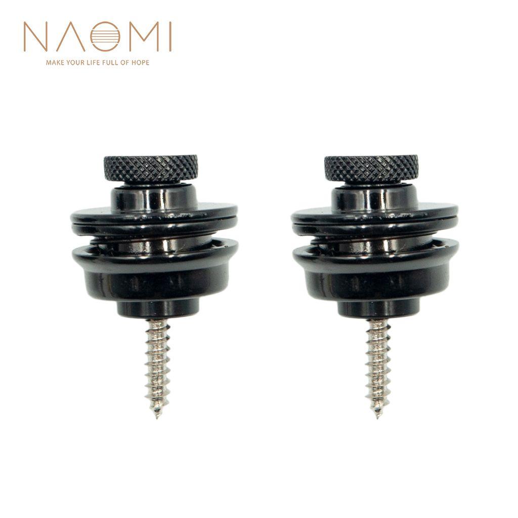 NAOMI 2Pcs الغيتار / باس حزام قفل Straplock زر أسود أجزاء الغيتار اكسسوارات جديد