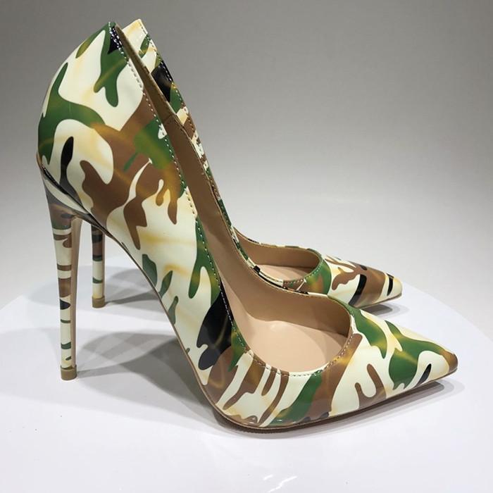 2020 Нового бренд маскирующего граффити шпильки пятки заостренный носок 8/10 / 12см высоких каблуков мода сексуальных женщины с красной подошвой обуви насосов