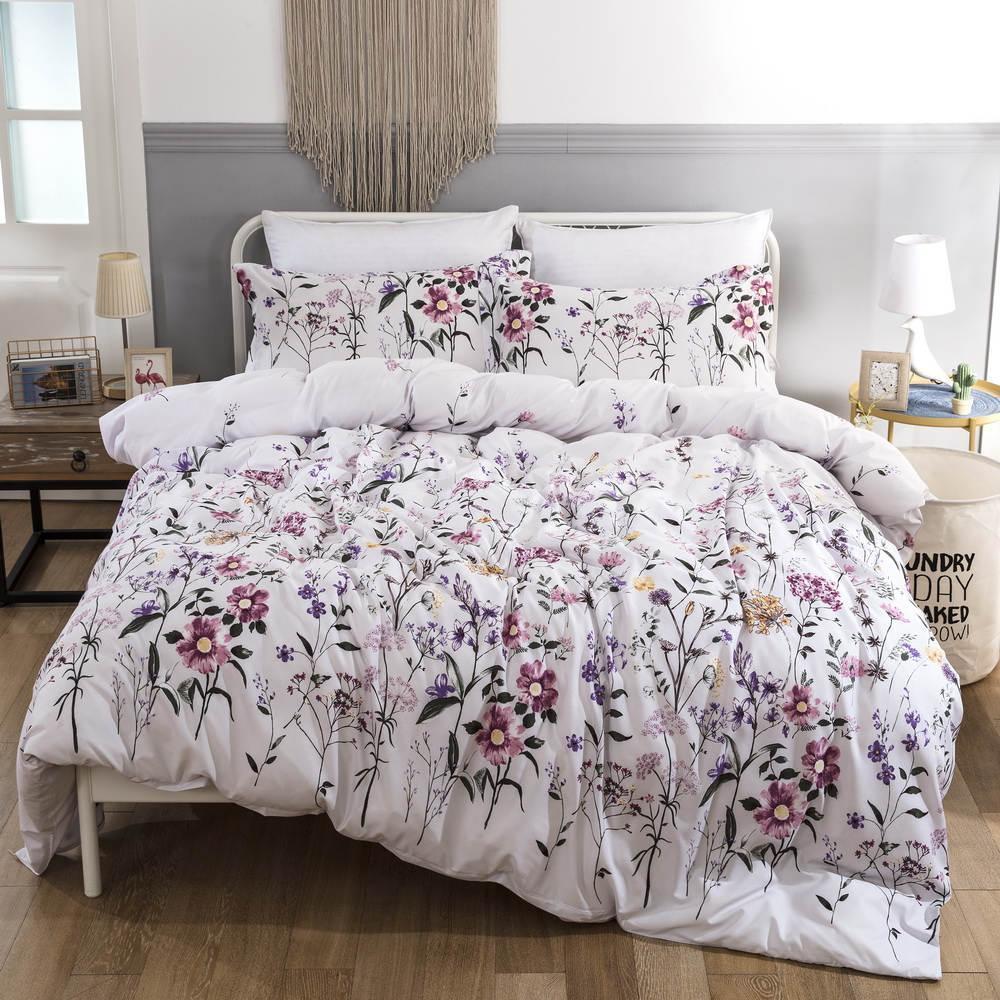 34 Literie King Size Flower Imprimé Housse de couette Linge de lit Ensemble avec Taie Floral Double Literie