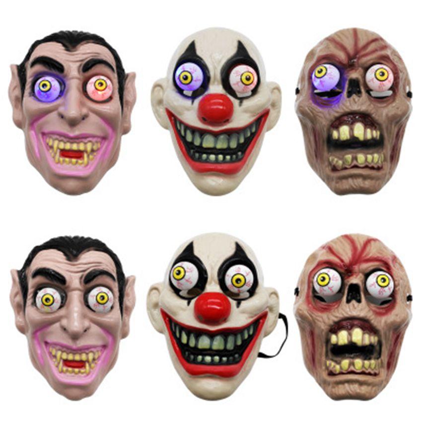 Led Maschera Orrore di Halloween Per Clown Vampire Eye Mask Cosplay trucco a tema Prestazioni partito di travestimento di Full Face Mask ZZA1144