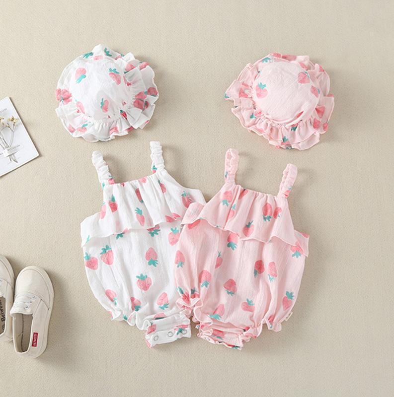 Enfant nouveau-né Bébés filles Straps Fraise Print Romper bébé Sunsuit Hat fille vêtements d'été