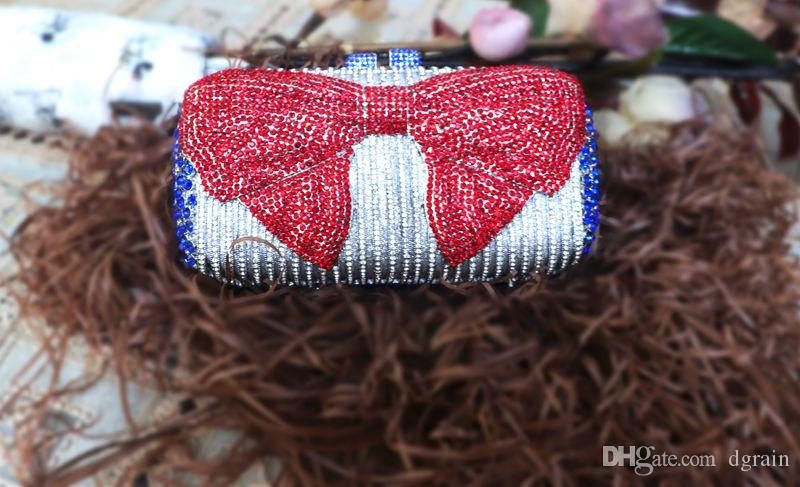 Dgrain Sparkling Silver Crystal Frauen Bogenabendtaschen Braut Clutch-Bag Red Strass Brauthochzeitsfest-Handtaschen-Geldbeutel-Metallharte Box