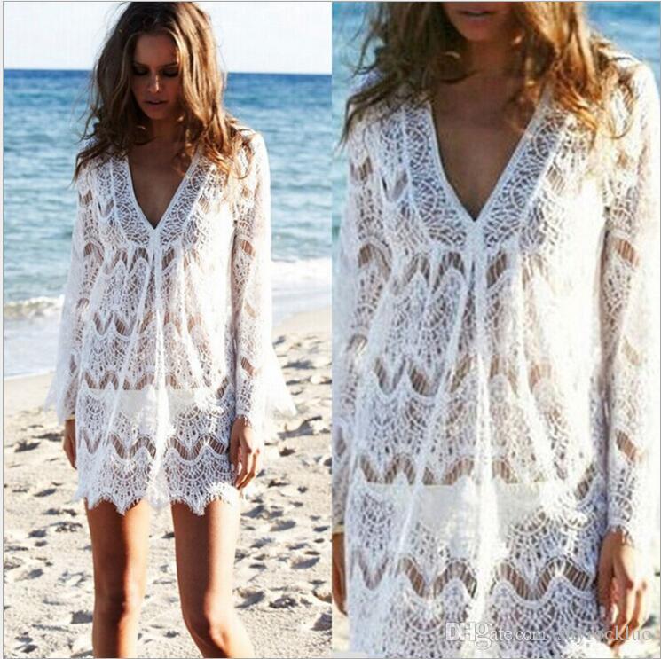 2019 Women 캐주얼 술 레이스 Sexy Lace 기모노 블라우스 Coat Casual Cardigan Beach Bikini Hollow Cover-Up 드레스 Mesh Swimsuit 수영복