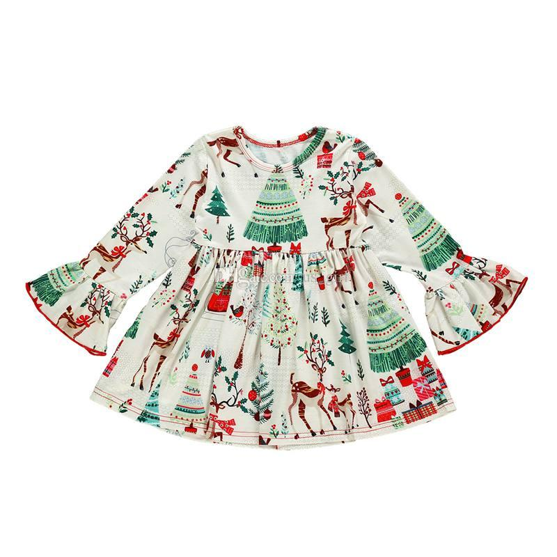 Toddler Long Sleeved Christmas Dresses 2020 xmas christmas 2020 Toddler Kids Baby Girls Dresses long sleeved
