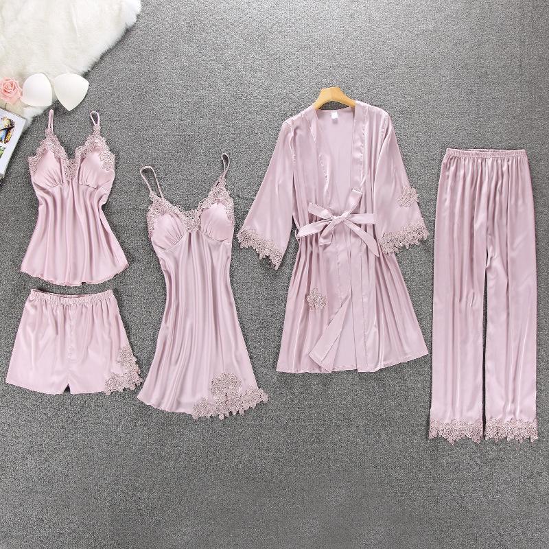 Pijama Mulheres Pijama 5 Peças de Cetim Pijama Pijama De Seda Casa Desgaste Casa Bordado Roupas Sono Salão De Pijama com Almofadas de Peito