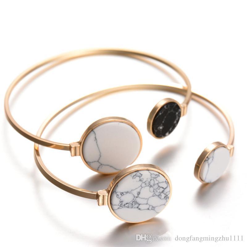 Браслет из мрамора с геометрическим рисунком для женщин Белый черный искусственный мрамор Круглый геометрический браслет Золотой круг Манжета Браслет Каменный браслет