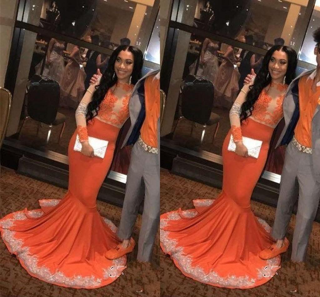 African Black Girls Orange Mermaid Prom Dresses Long Sleeve Lace Applique Evening Dress For Women Party Gown Sweep Train Formal Dress