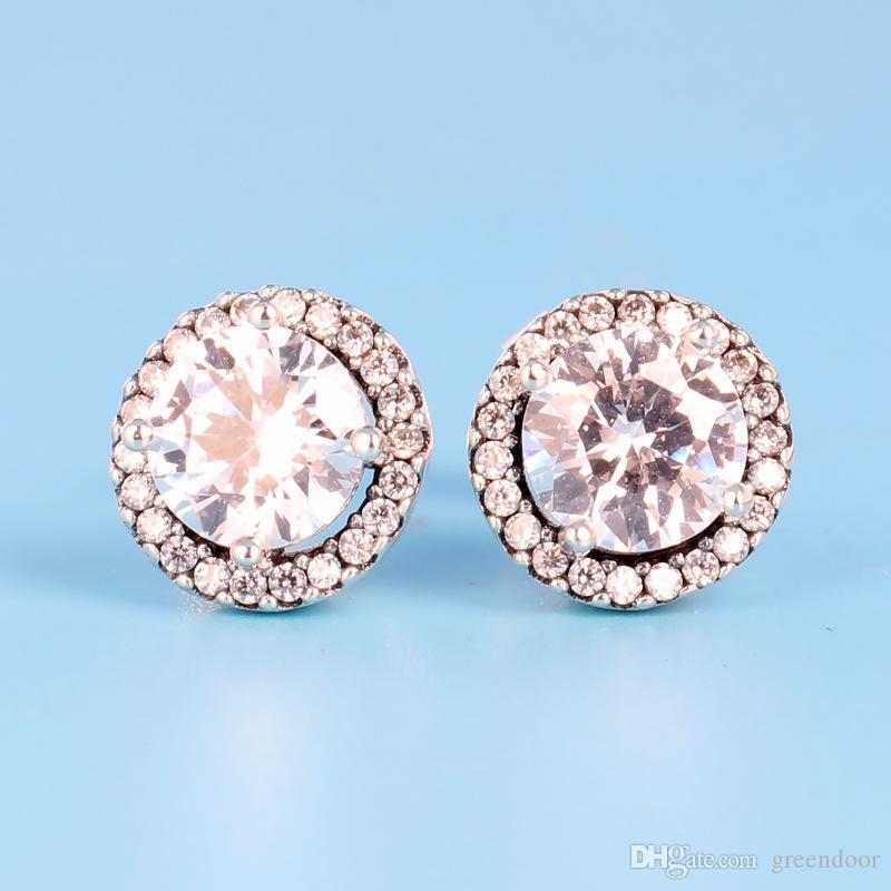 جديد كلاسيكي تصميم جولة تشيكوسلوفاكيا الماس القرط مجموعة المربع الأصلي ل باندورا 925 فضة أقراط الإكسسوارات