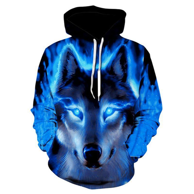 Moda Masculina Lobo animal 3D Impresso com capuz Hoodies Homens / mulheres Shinning Lobo projeto Moletons 3D Harajuku com capuz