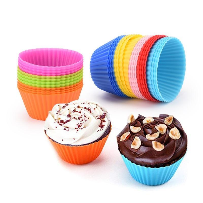 8 couleurs Coupe du gâteau rond de silicone Muffin Coupe antiadhésives Cupcake Moule Ustensiles pour cuisson Coupe WB1833