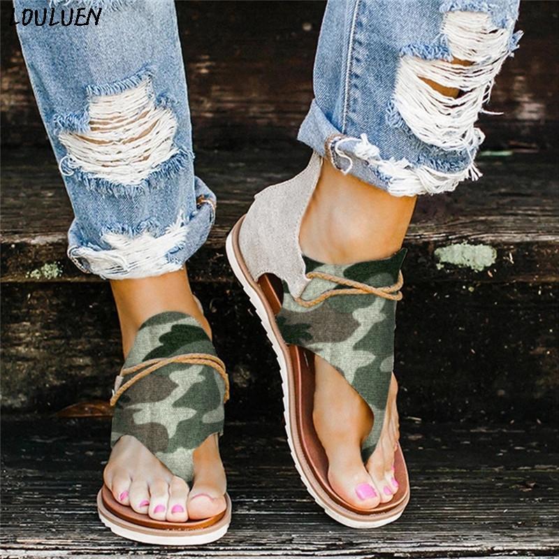 LOULUEN летние чешские сандалии Женские женские повседневные камуфляжные шлепанцы удобные туфли на молнии камуфляж Роман Zapatos Mujer