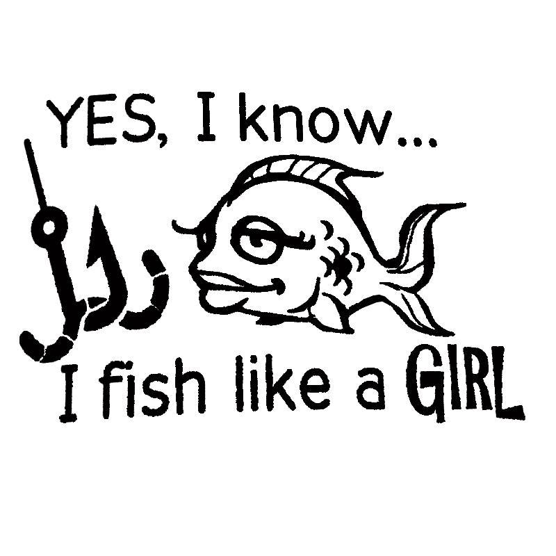 16 * 10.5cm drôle de pêche Decal Je poisson comme une fille drôle de fenêtre de voiture Pare-chocs Nouveauté JDM Drift décalque de vinyle autocollant