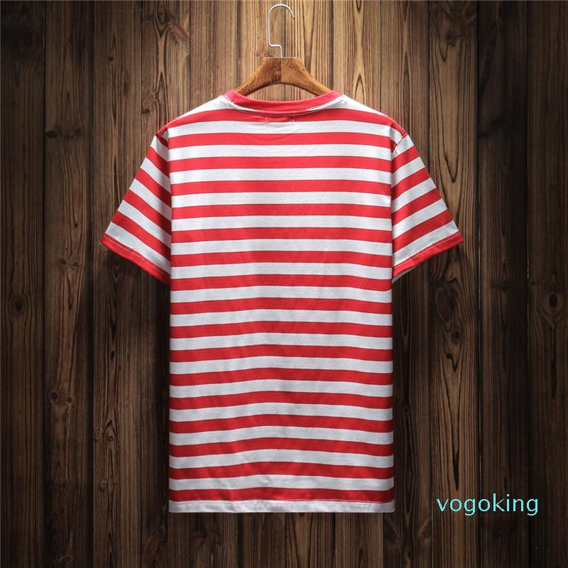 Jeans USA Mens Striped T Shirts Summer Fashion Embroidery Designer Tees Short Sleeved Tops Clothes Wulong