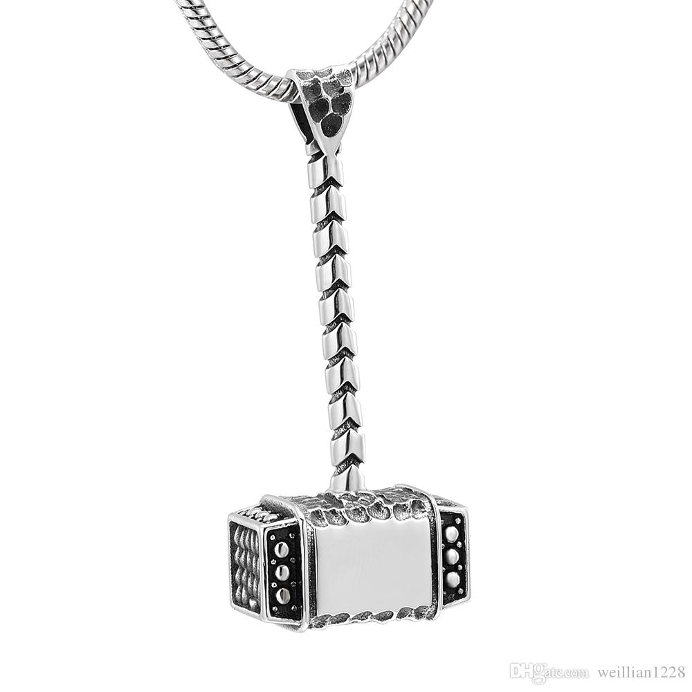 ZZL039 Newest Hammer Shape Cremation Pendant Funeral Urns Keepsake Jewelry for Ashes Men Women Gifts Necklace