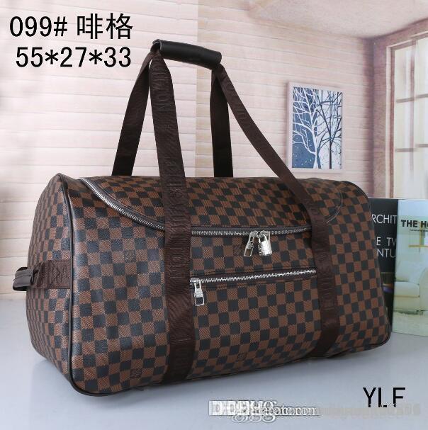 55СМ большой емкости женщины дорожные сумки 2019 продажа качество мужчины плечо вещевой мешок сумки для переноски багажа keepall нижние заклепки с замком головы