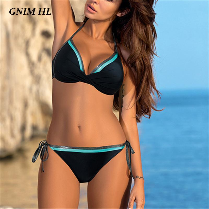 GNIM vendaje del bikini Mujer 2020 traje de baño atractivo de las mujeres empuja hacia arriba el verano sin respaldo bañista traje ropa de playa brasileña traje de baño Biquini Nueva