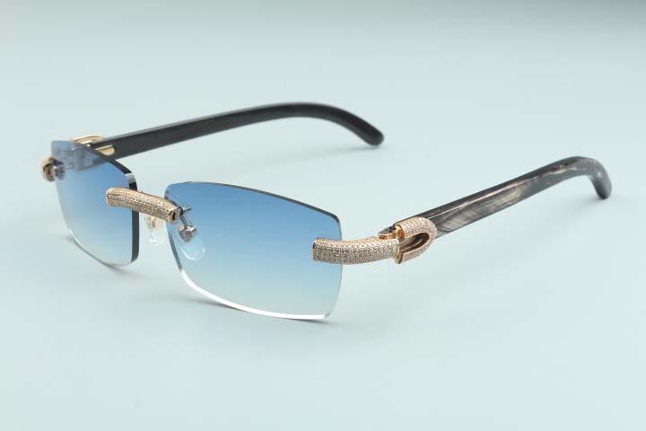 2020 Новые мужчины и женщины же солнцезащитные очки Полные бриллиантные очки T3524012-28 Роскошные безграничные натуральные черные текстурированные роговые рамки
