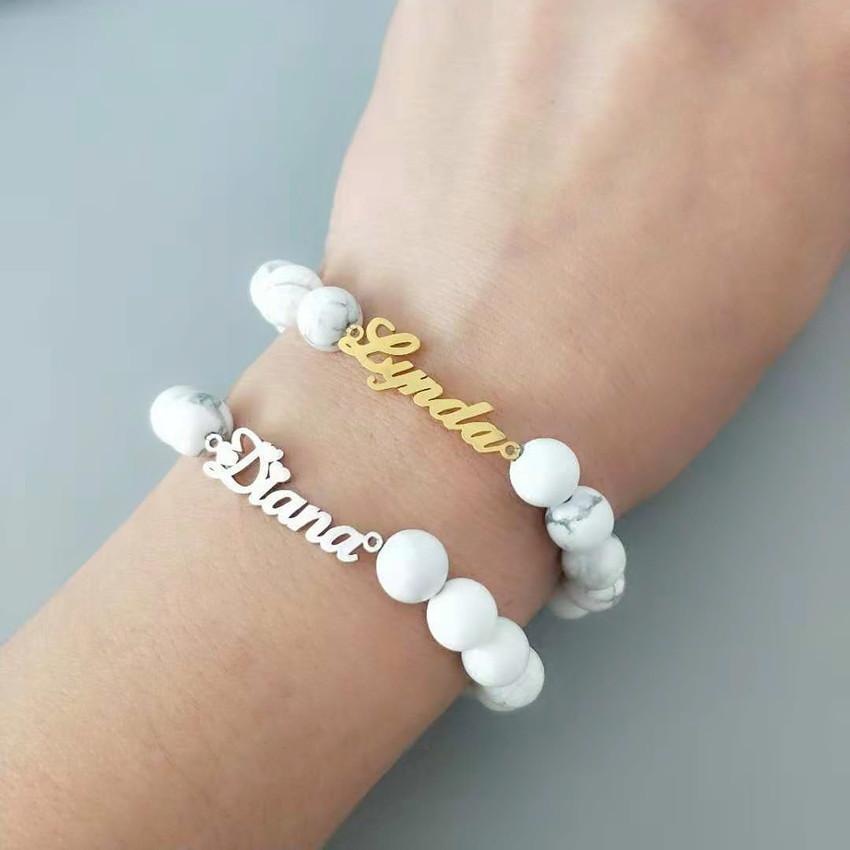 BFF Custom Name Beads Charm Bracelet Women Personalized Nameplate Pulseras Mujer Stainless Steel Boho Jewelry Graduation Gift