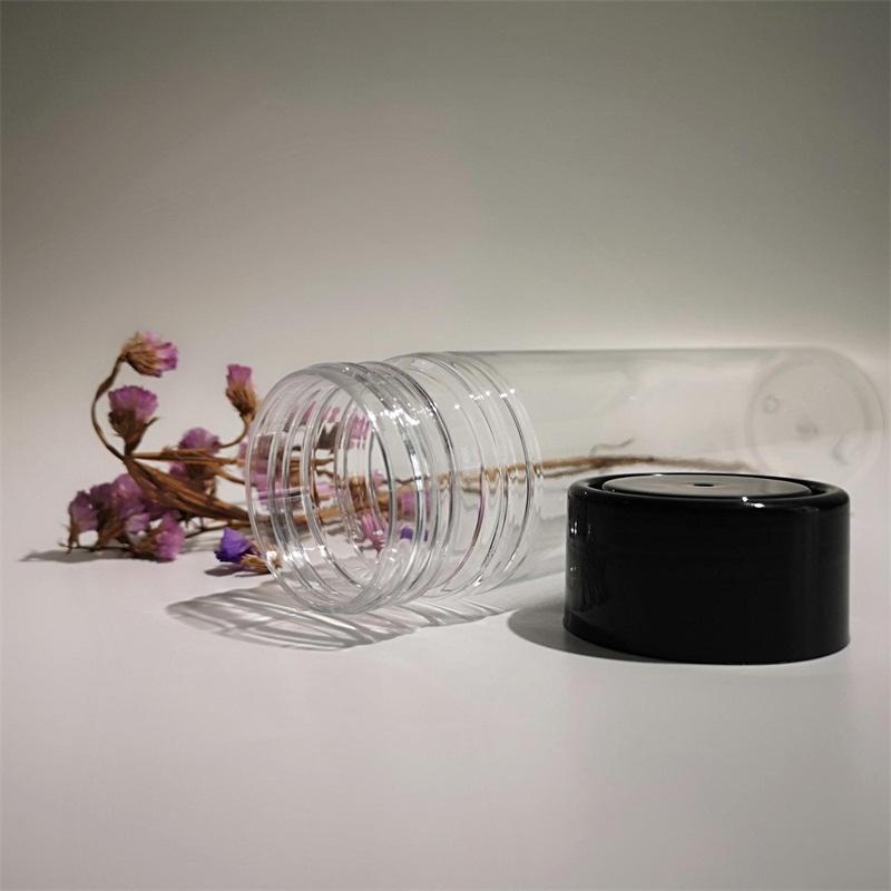 Thickened PET Plastic Juice Bottle Disposable Transparent Beverage Bottles Black Lid Milk Tea Cup New Arrival 1 05kh L1