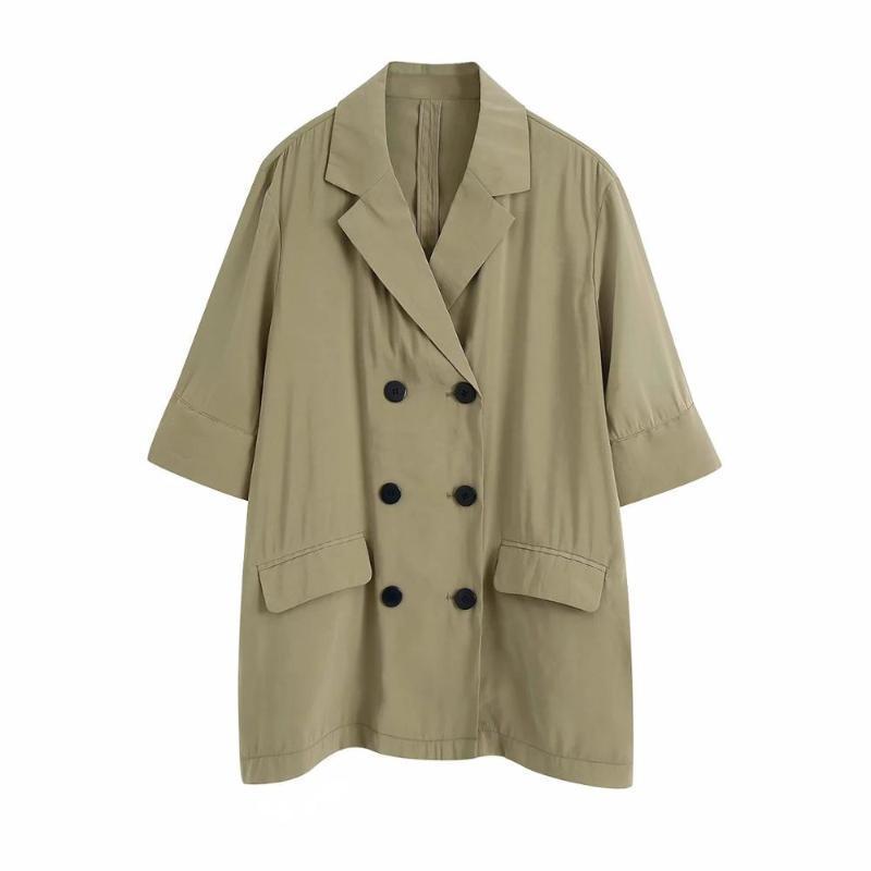 2020 새로운 가을, 여성 옷깃 칼라 짧은 소매 더블 브레스트 버튼 흐르는 재킷 veste 팜므 흐르는 재킷 피팅 느슨한