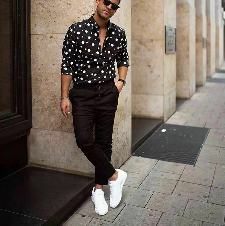 Pois Camicia degli uomini di modo del progettista di marca MarchWind Giù Slim Fit Manica Lunga Boho vacanze Camicie Casual Top Bouse