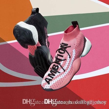 Pazzo Byw Lvl 1 Pharrell Scarpe sportive progettisti di superficie scarpe traspiranti Nero Rosso Giallo Donne Uomini di sport Corsa