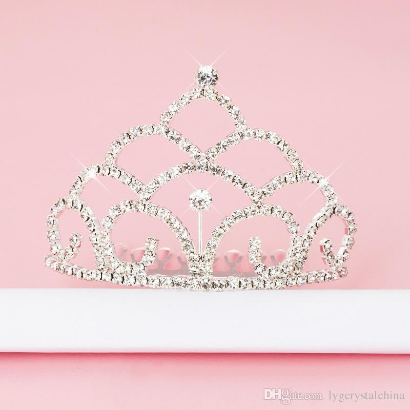 Children's drill hair band Dress accessories kids crown metal with diamond Electroplating process good quality