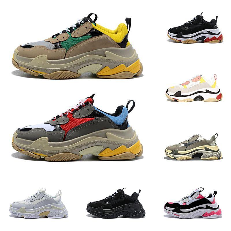 2020 triple s zapatos de diseño para hombres mujeres zapatillas vintage negro zapatillas de deporte de lujos para hombre zapatillas deportivas de suela grande