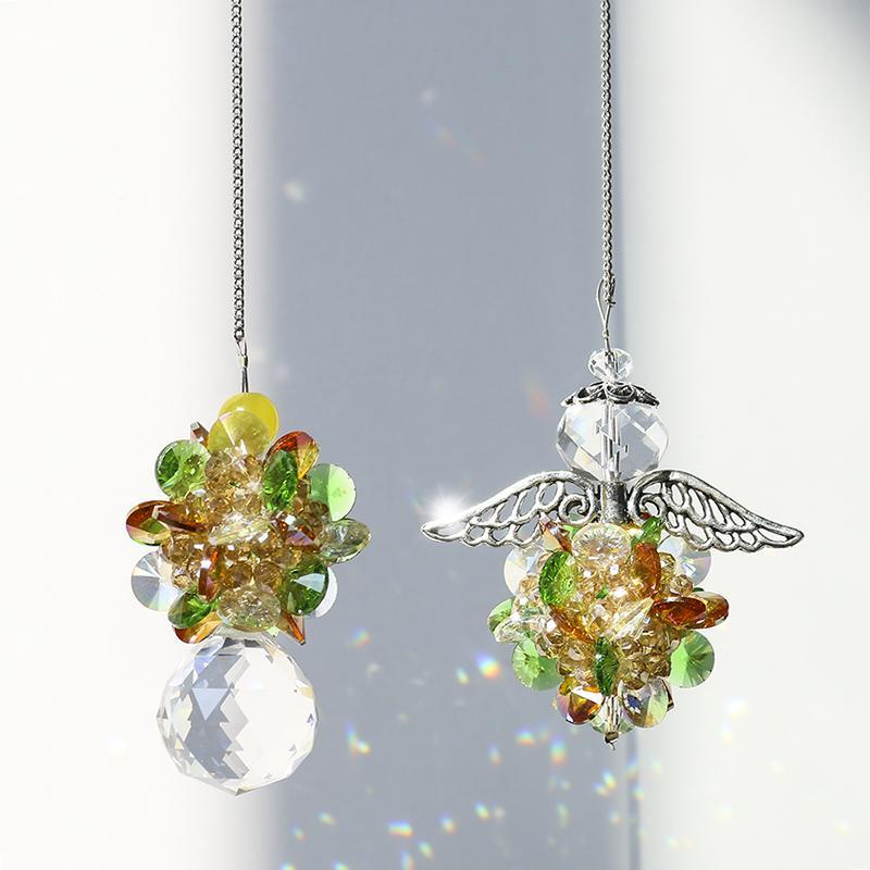 H&D 2pcs Chandelier Suncatcher Crystal Ball Prisms Pendant Angel Window Prisms for Windows,Plants,Wedding Decor