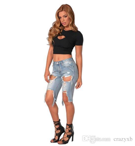 2020 neue reizvolle Frauen-Dame-Denim dünne zerrissene Shorts mit hoher Taille Loch zerstört drapierte Stretch Bodycon Jeans dünne Kurzschlüsse