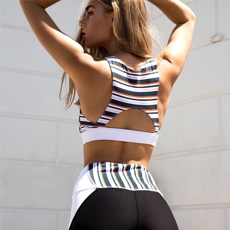 Style classique imprimé rayé Yoga Set personnalité Patchwork Sport Fitness vêtements de plein air Yoga Jogging Respirant Tenues pour les femmes
