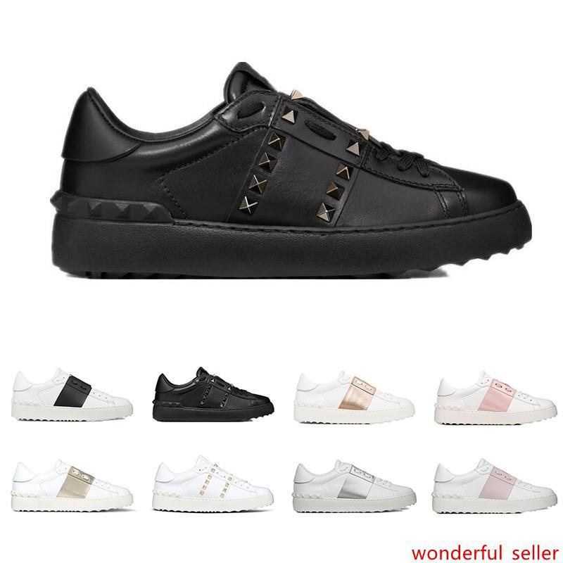 Nuevos zapatos de diseñador de moda zapatillas de deporte de lujo para hombres mujeres blanco negro rojo cuero genuino zapato casual jogging caminar con