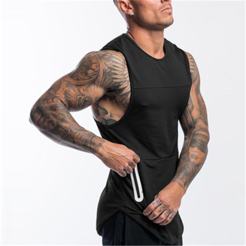 (Peut ajouter votre propre logo) Les nouveaux hommes culturisme coton Débardeur Gym Fitness sans manches Mode Gilet singlet 4 Couleur Undershirt