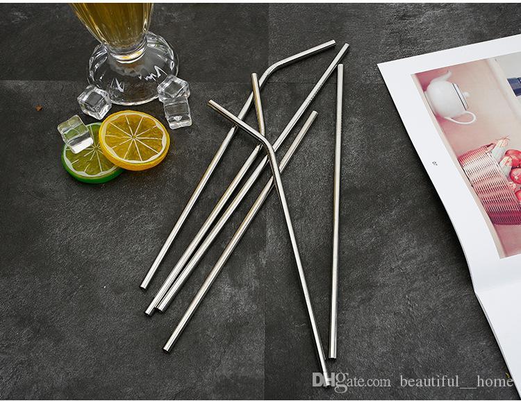 6 * 215 milímetros Aço Inox 304 Bent palha e reto reutilizável Palhinha colorido Cleaner palhas metal Straw escova Bar Beber Ferramenta 23RE