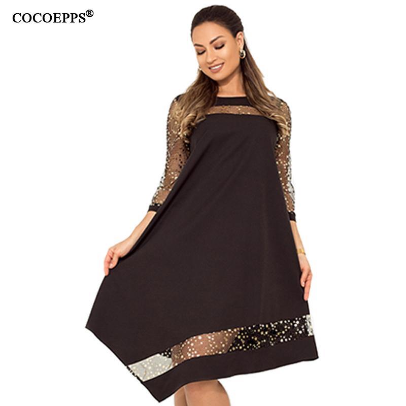 Cocoepps Vestido de lentejuelas de verano para mujer Vestido brillante de gran tamaño Negro 2019 Vestido de lentejuelas Vestidos de gran tamaño Malla Ropa de mujer Y19070801